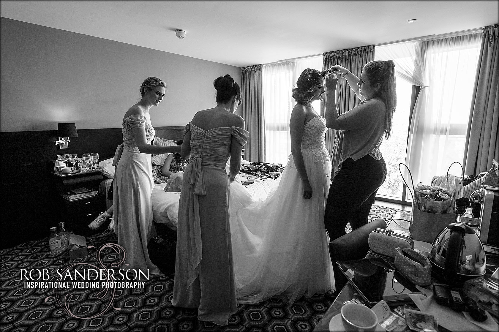 bride gets ready at the Vincent hotel in Southport