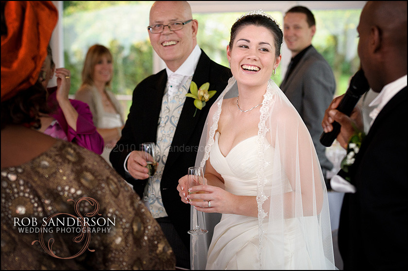 laughing bride at Haslington Hall