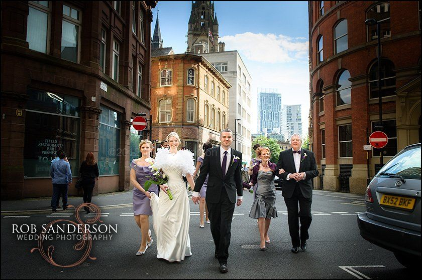 Manchester wedding photography outside Manchester Town Hall