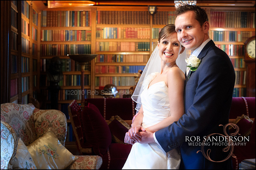 Gawsworth Hall library wedding pic