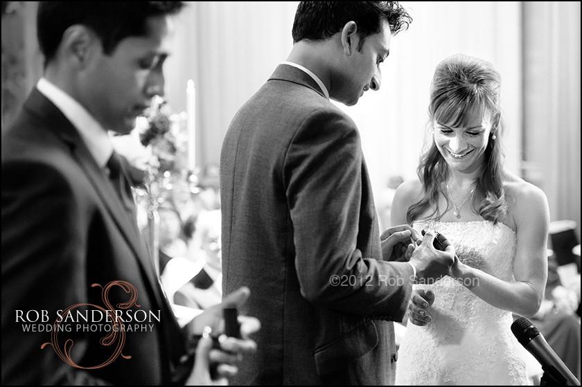 Exchange of rings at Tatton Park wedding
