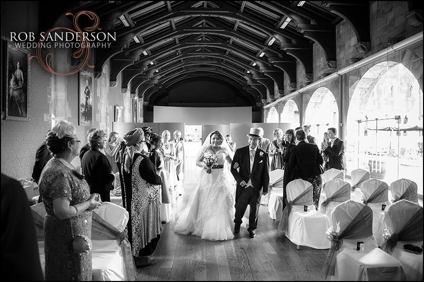bride arrival for Alnwick castle wedding