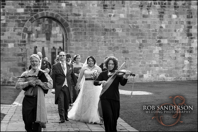 Alnwick castle wedding precession