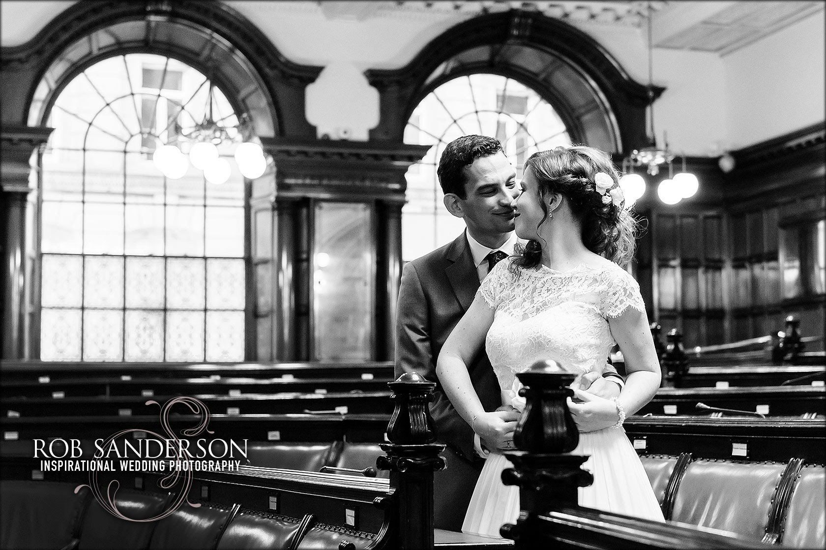 romantic wedding photography in the council chambers