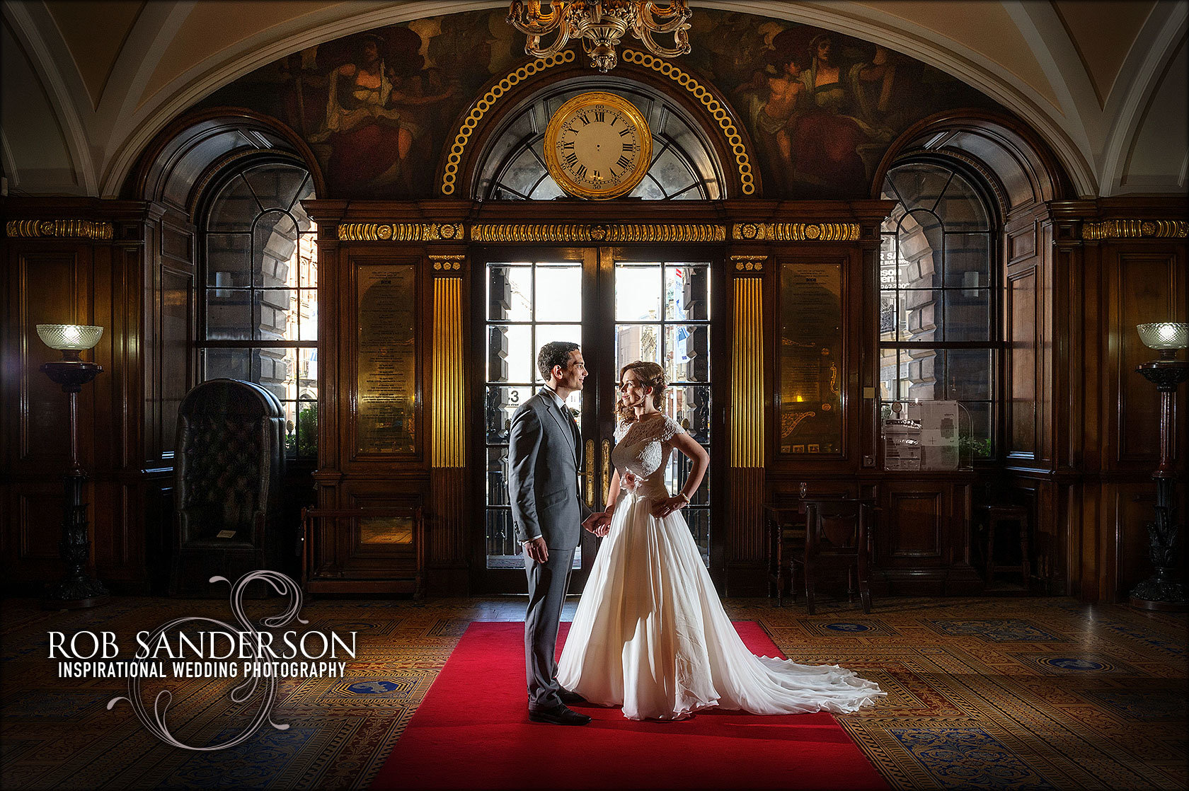 stylish wedding photo inside Liverpool Town Hall
