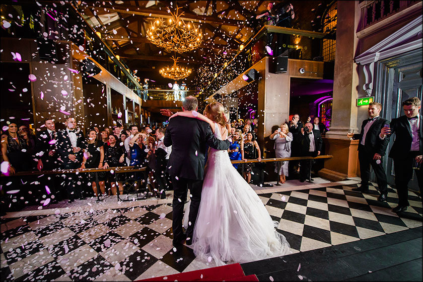 Alma de cuba petal shower bride and groom