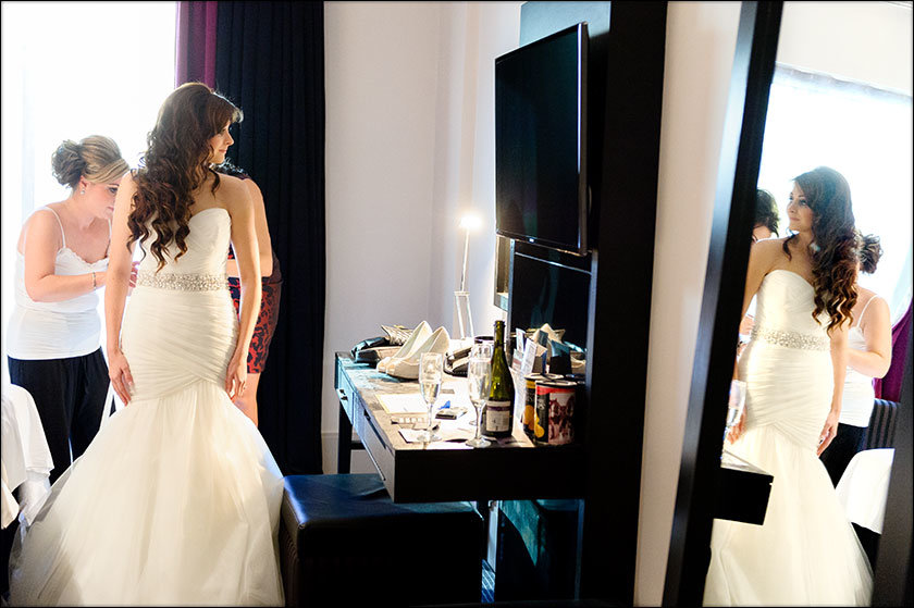 bride at Malmaison hotel Liverpool