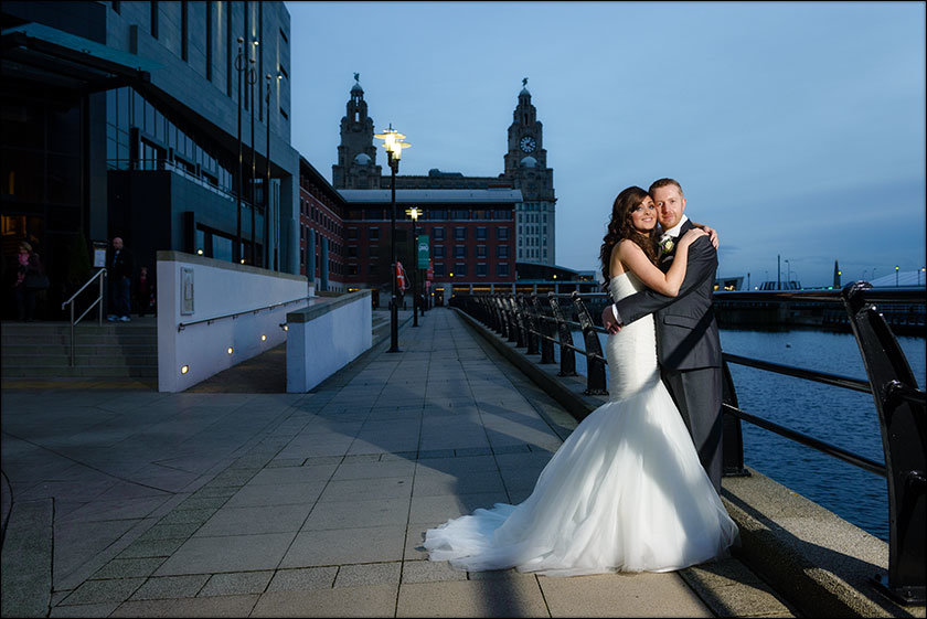 Malmaison wedding with Liver building background