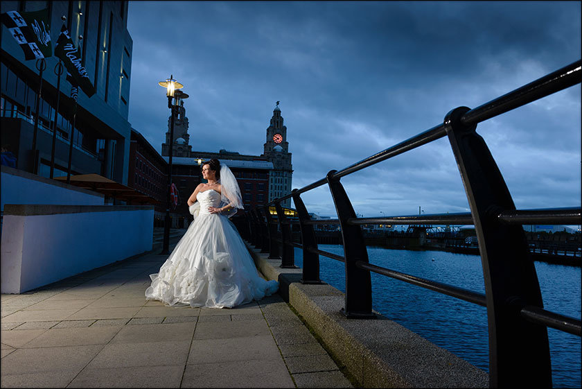 stunning bride picture with the liver building
