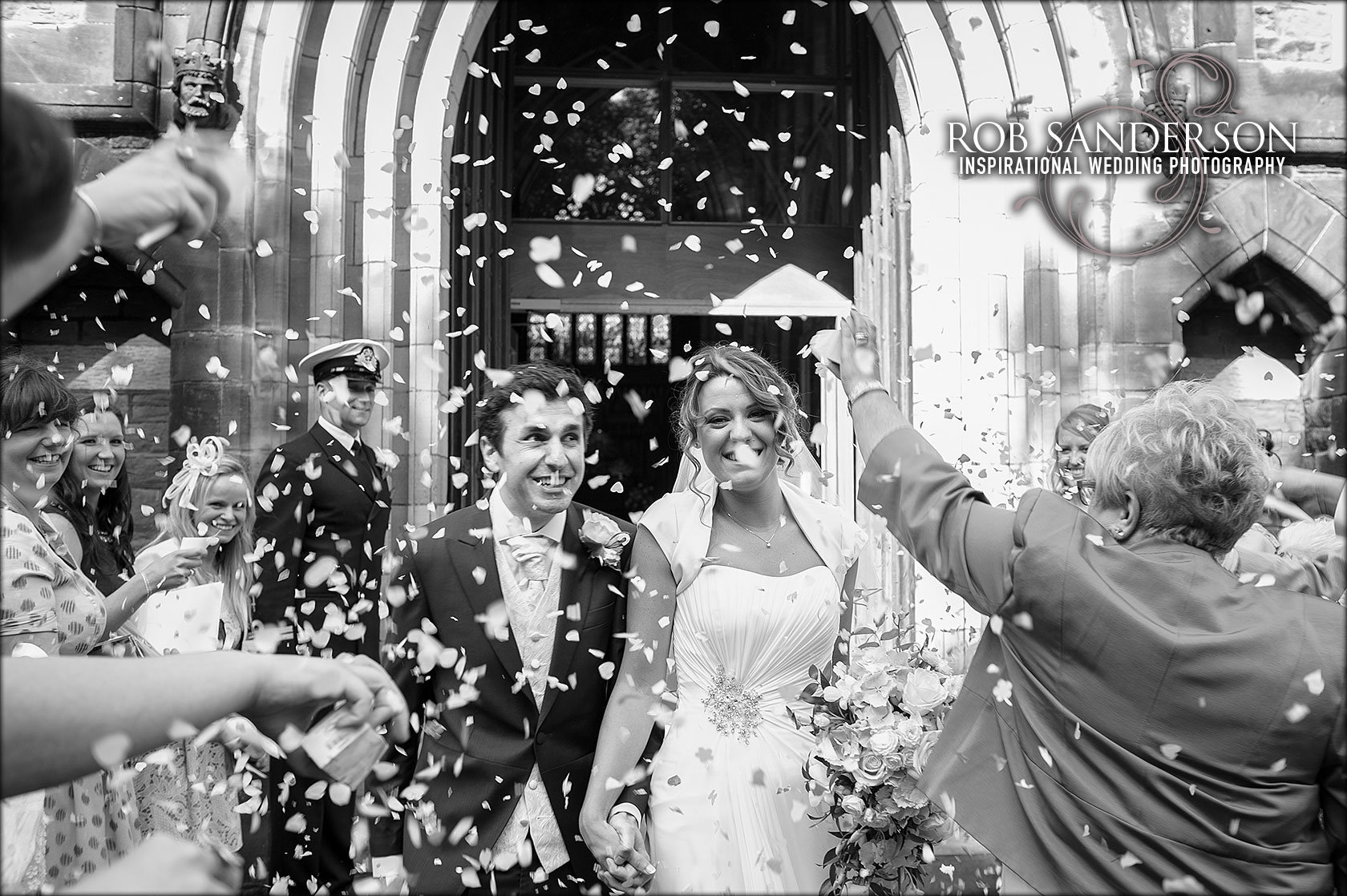 wedding confetti photograph outside St Matthew & St James