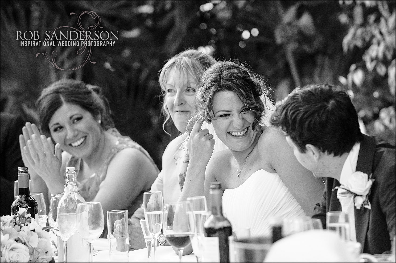 fun moment between bride and groom
