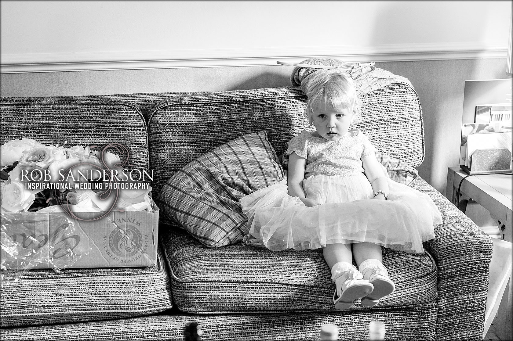 cute flower girl at cottons in Knutsford
