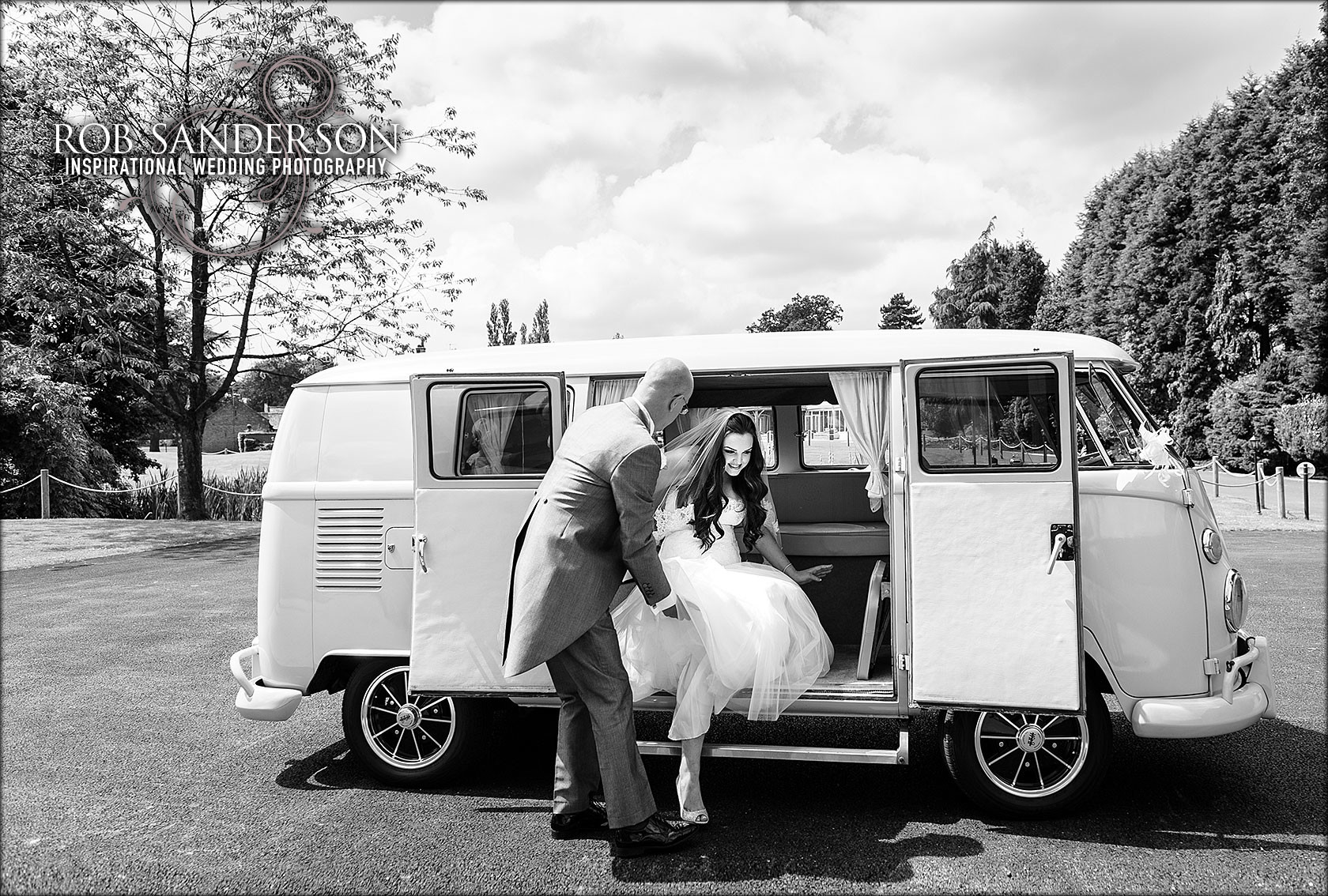 bride arrives in a vw camper