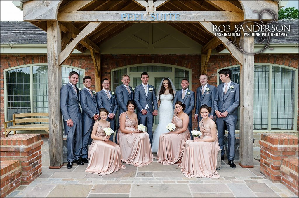 bridal party picture at Colshaw Hall