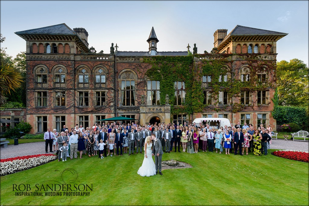 Soughton Hall wedding photograph of all the guests