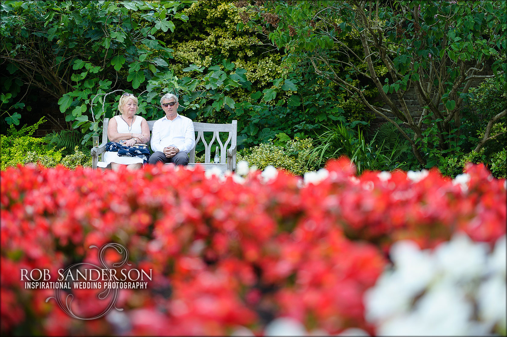 Guests enjoy Soughton Hall's beautiful gardens