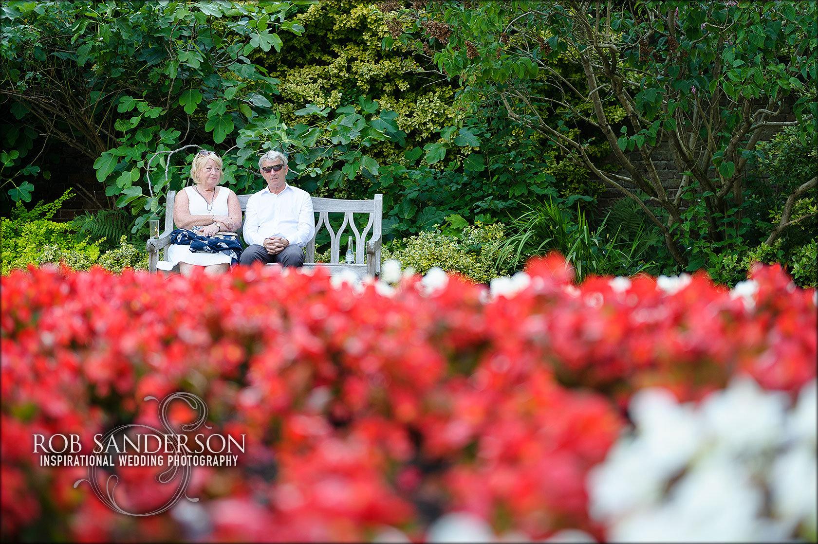 Guests enjoy Soughton Hall's beautiful gardens