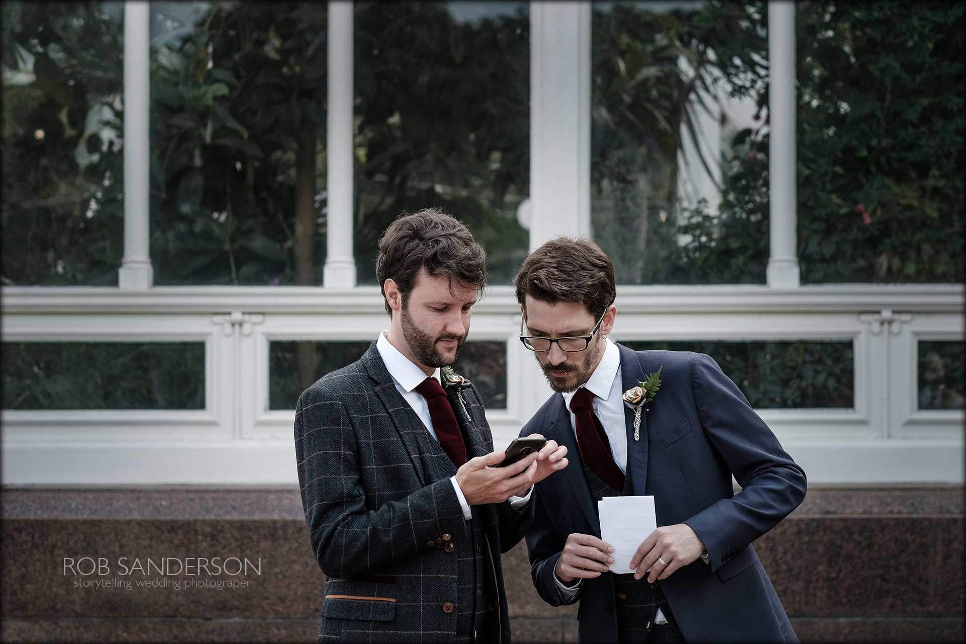 Groom chats to his groomsman