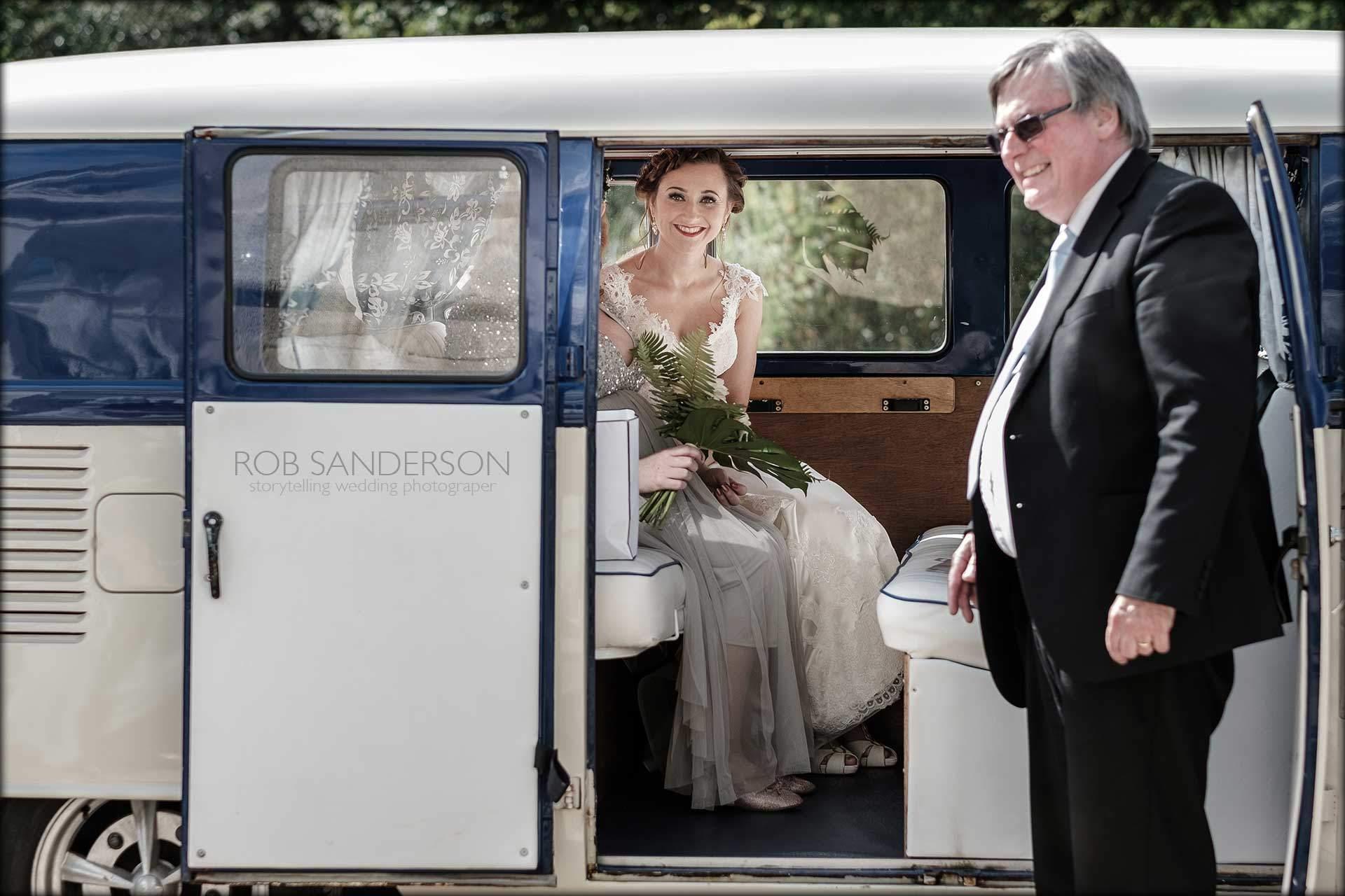 Bride in VW camper van
