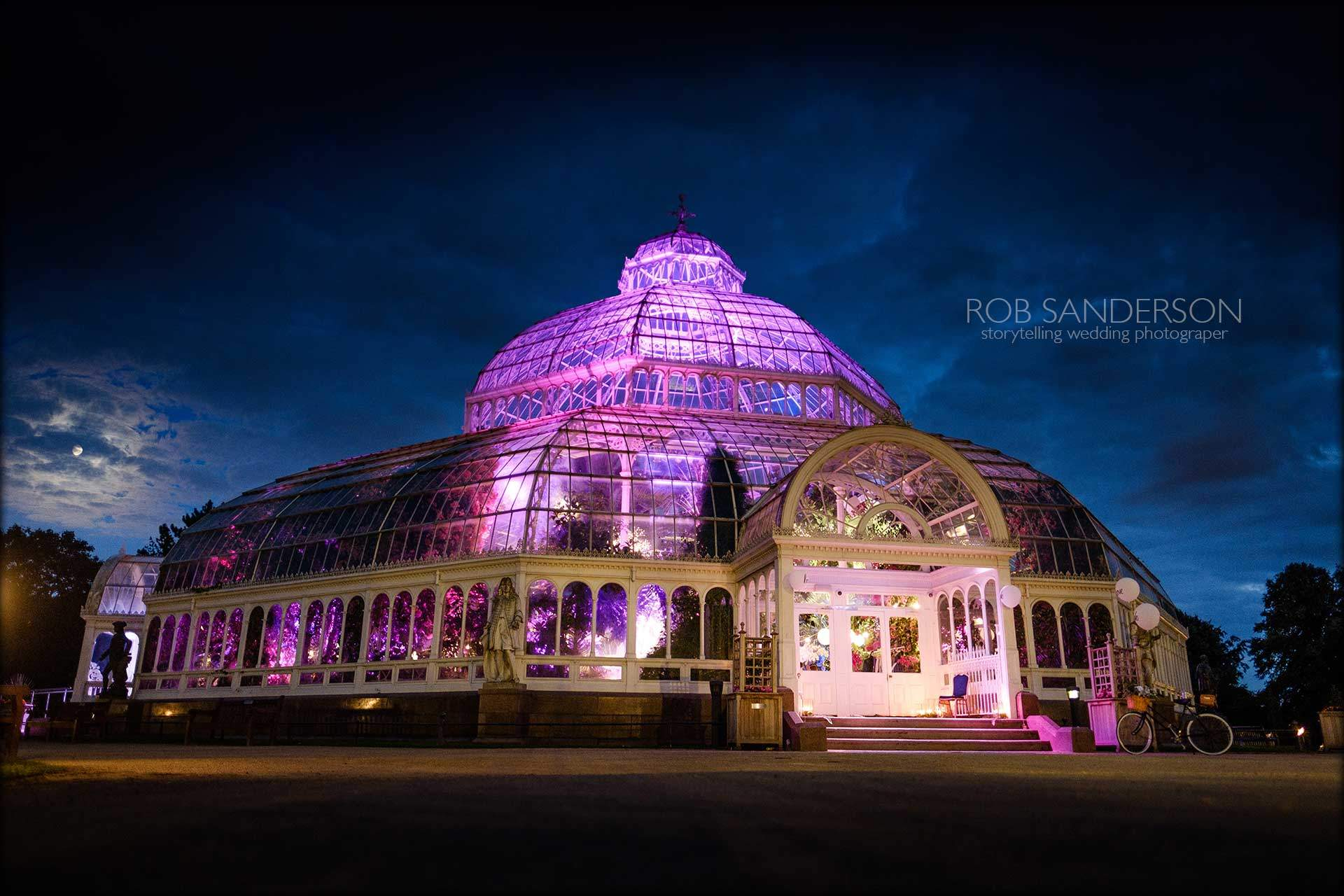 Sefton Park Palm House lit up at night