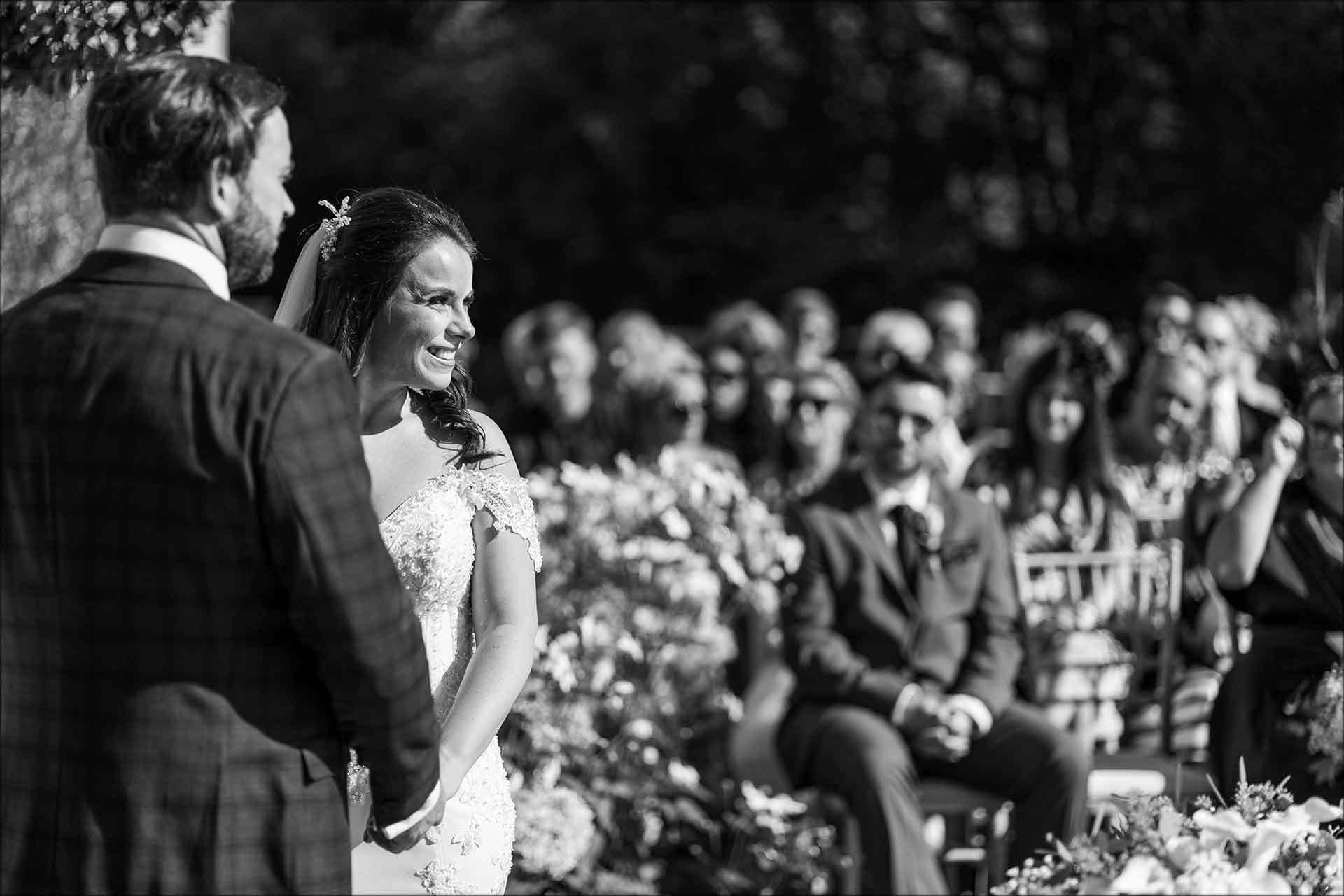 Bride and groom's outdoor wedding ceremony
