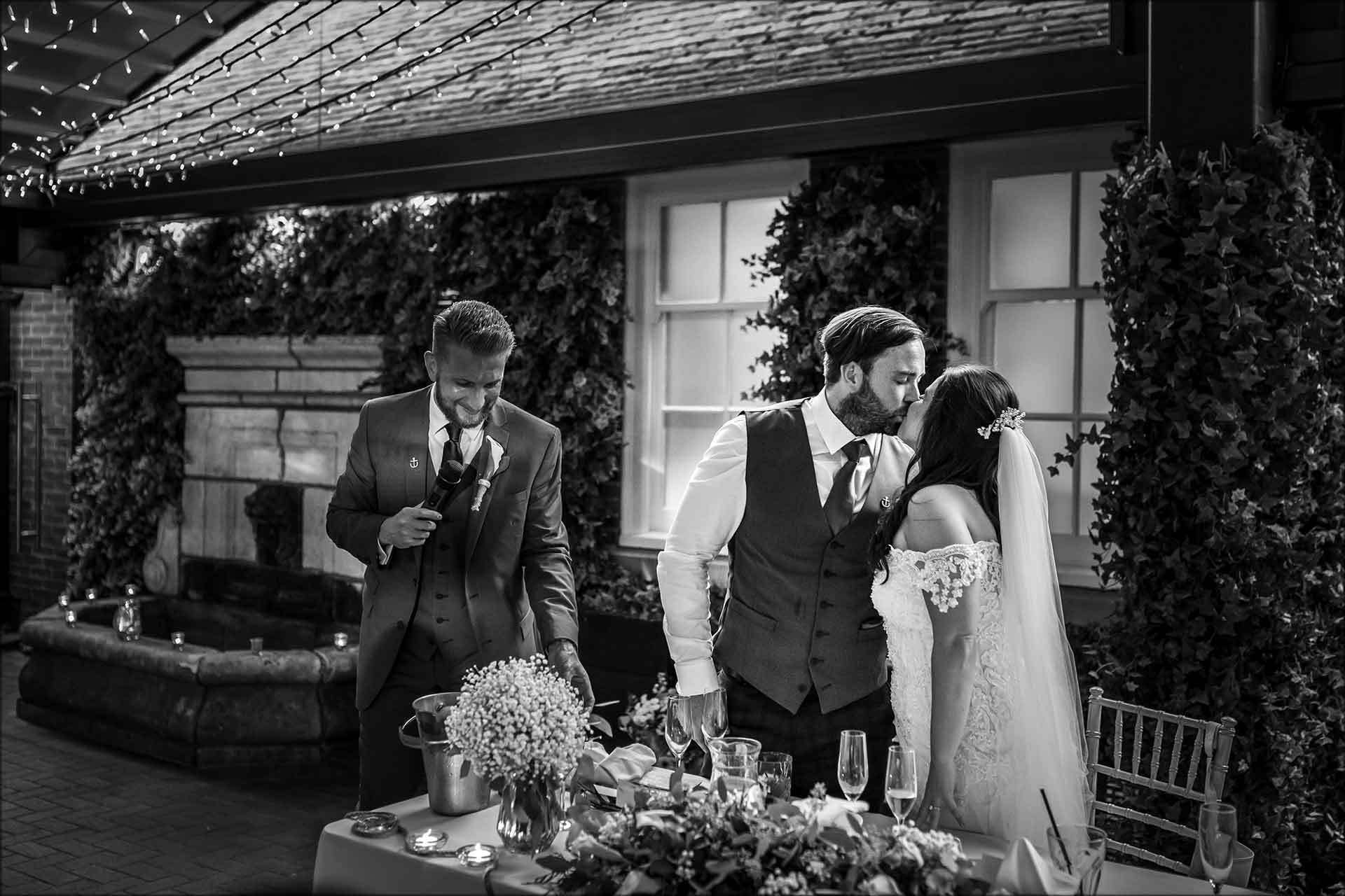 Intimate moment between the bride and groom